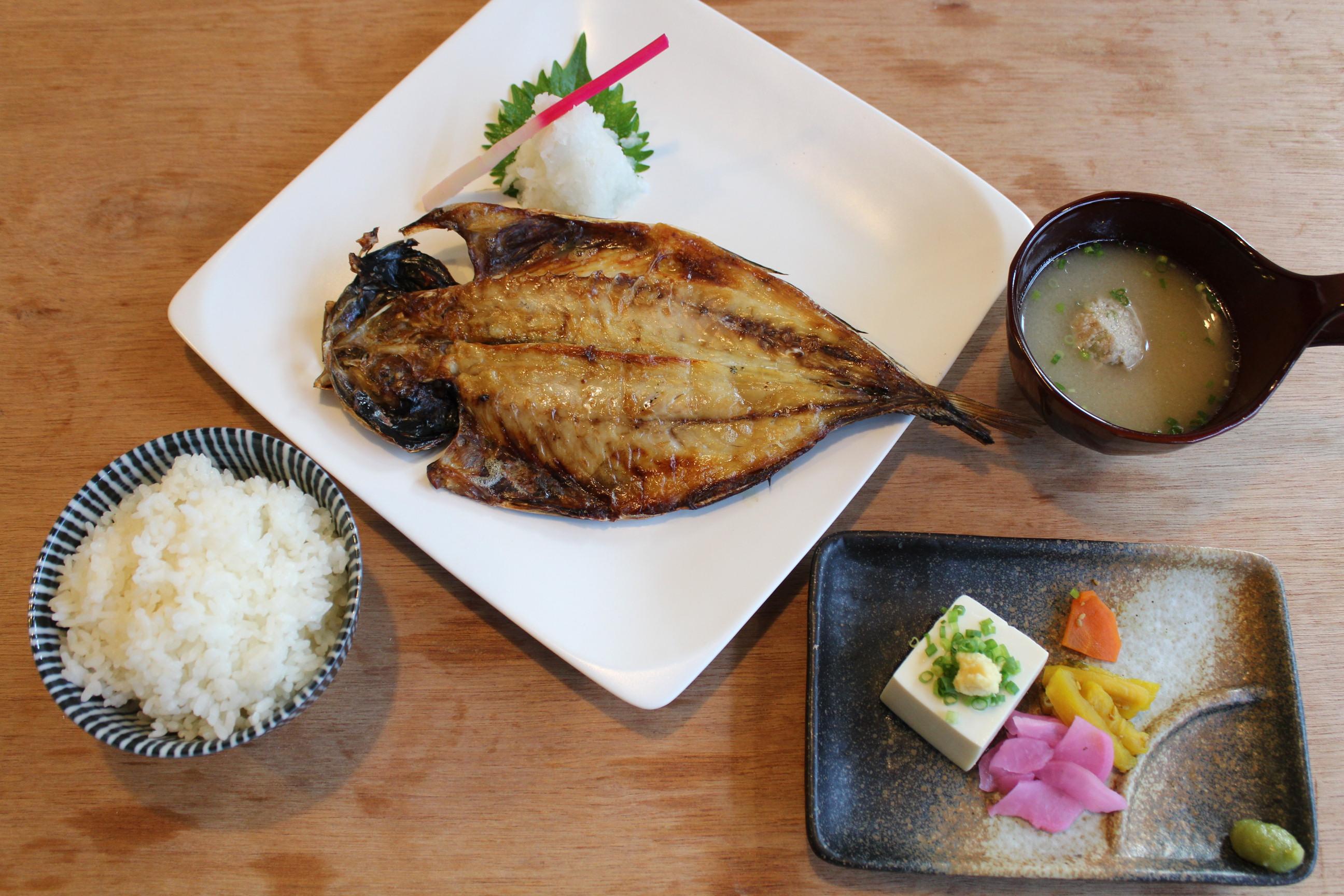 真アジ干定食 ¥1,000